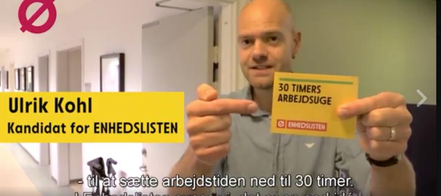 Enhedslistens kandidat fortæller om 30 timers arbejdsuge i kampagnefilm.